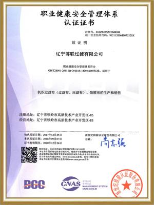 博联:职业健康安全管理体系认证证书