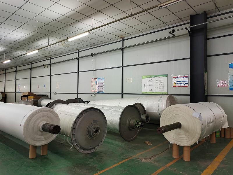 博联水平带式过滤布织造现场